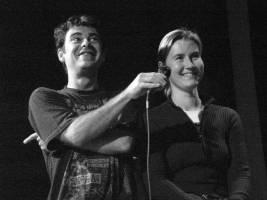 Hosting a short form show in Leuven, 2004
